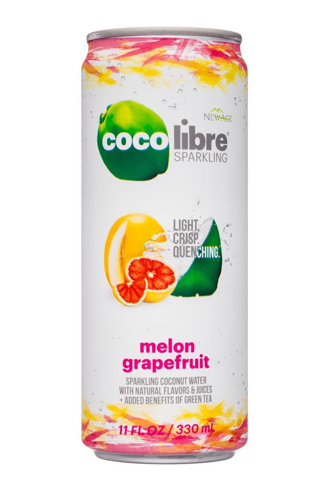 Coco Libre Sparkling Organic Coconut Water: CocoLibre-11oz-SparklingCoconut-MelonGrapefruit-Front