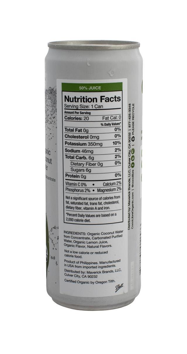 Coco Libre Sparkling Organic Coconut Water: CocoLibre Spark Facts