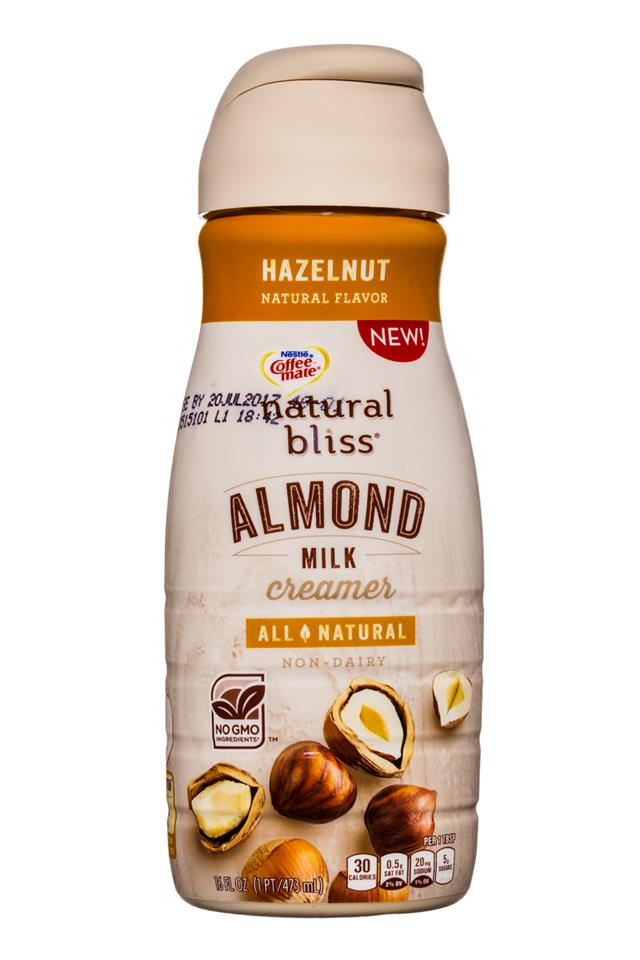 Coffee-mate Natural Bliss: CoffeeMate-16oz-AlmondMilkCreamer-Hazelnut-Front