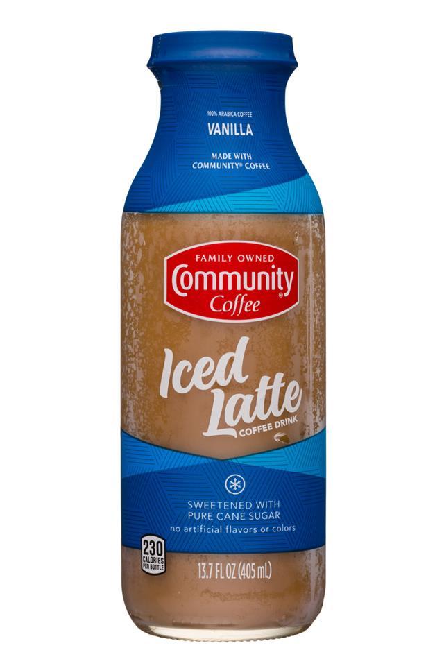 Community Coffee: CommunityCoffee-14oz-IceLatte-Vanilla-Front