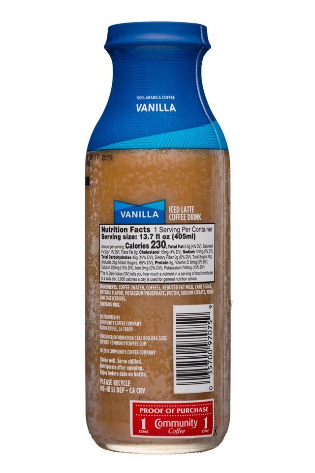 Community Coffee: CommunityCoffee-14oz-IceLatte-Vanilla-Facts