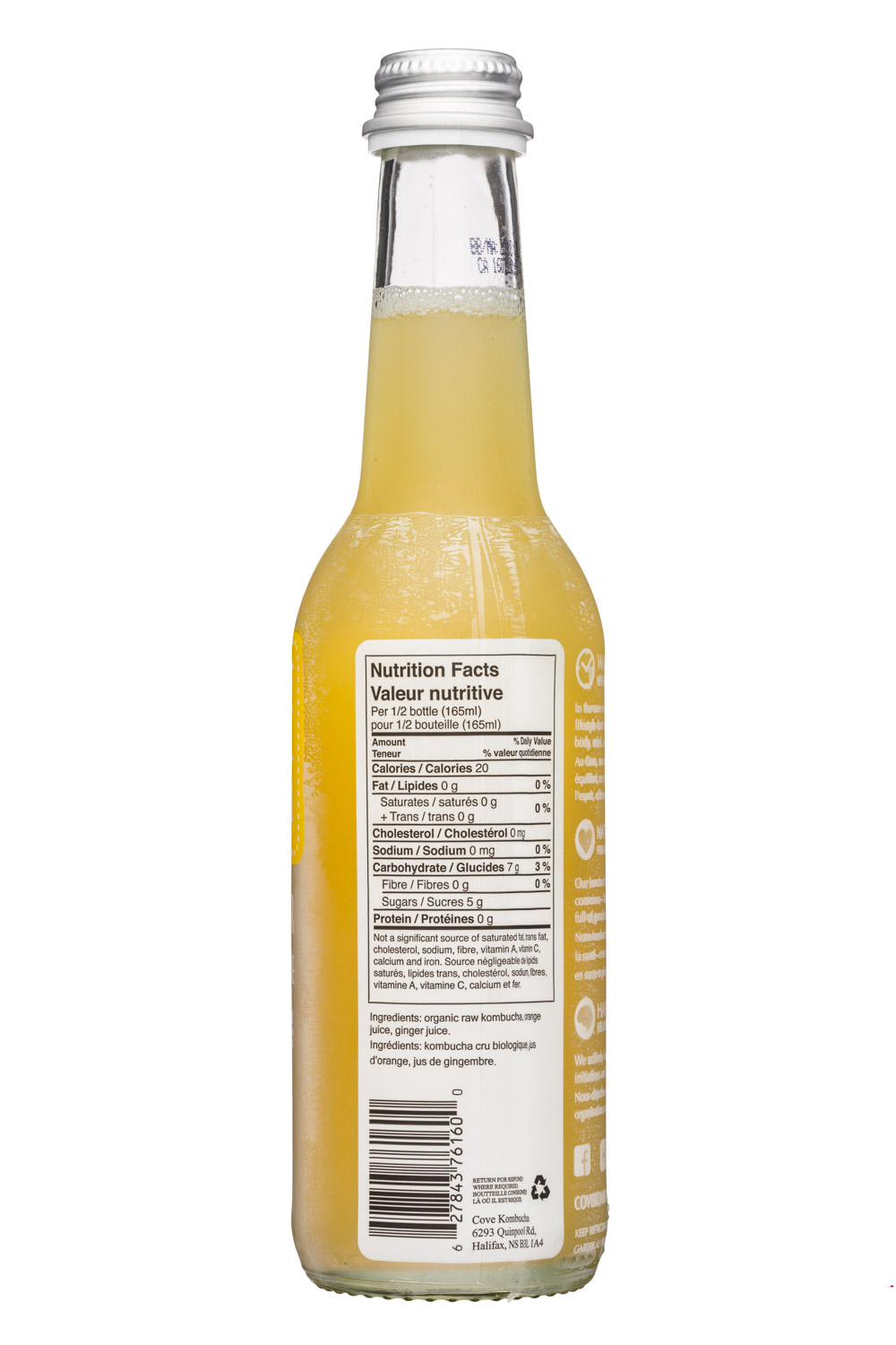 Cove Kombucha: CoveKombucha-330ml-OrangeGinger-Facts