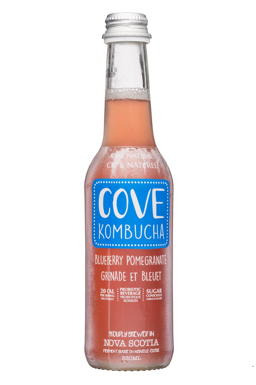 Cove Kombucha: CoveKombucha-330ml-BluebPom-Front