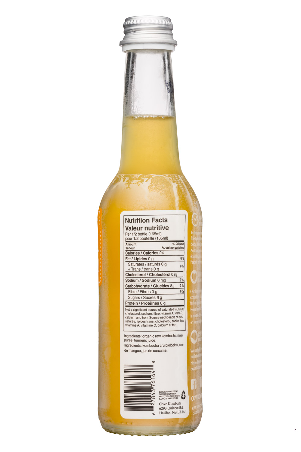 Cove Kombucha: CoveKombucha-330ml-MangoTurmeric-Facts