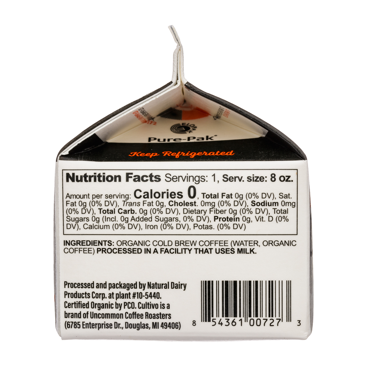 Cultivo: Cultivo-8oz-ColdBrewCoffee-Black-Facts