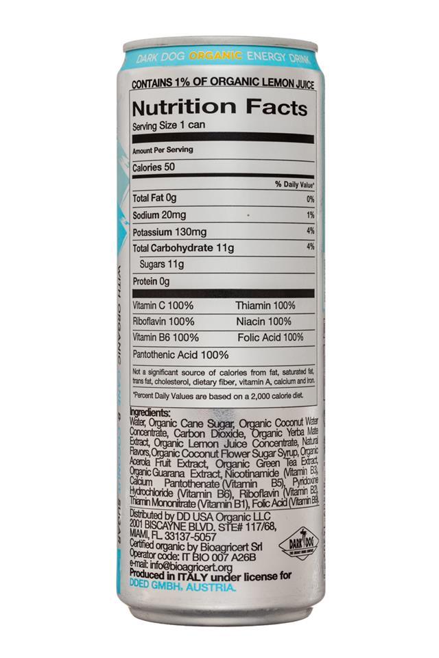 Dark Dog Organic Energy Drink: DarkDog-CoconutWaterEnergy-12oz-Facts