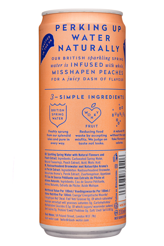 Dash Water: DashWater-10oz-2020-SparklingWater-Peaches-Facts