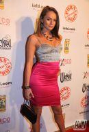 Deep Throat Energy Drink Press Board at XRCO Awards pornstar Tori Black on red carpet