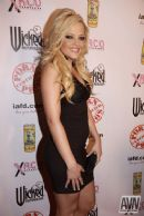 Deep Throat Energy Drink Press Board at the XRCO Awards with pornstar Alexis Texas on the red carpet