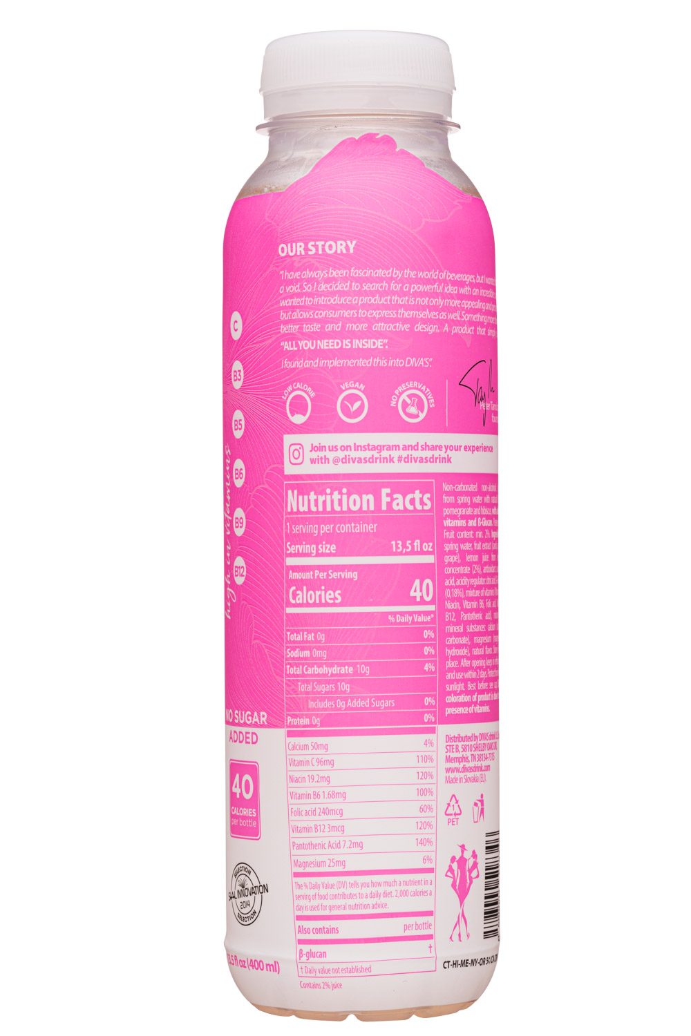 Diva's For Women: Divas-14oz-2020-VitaminWater-Health-Facts