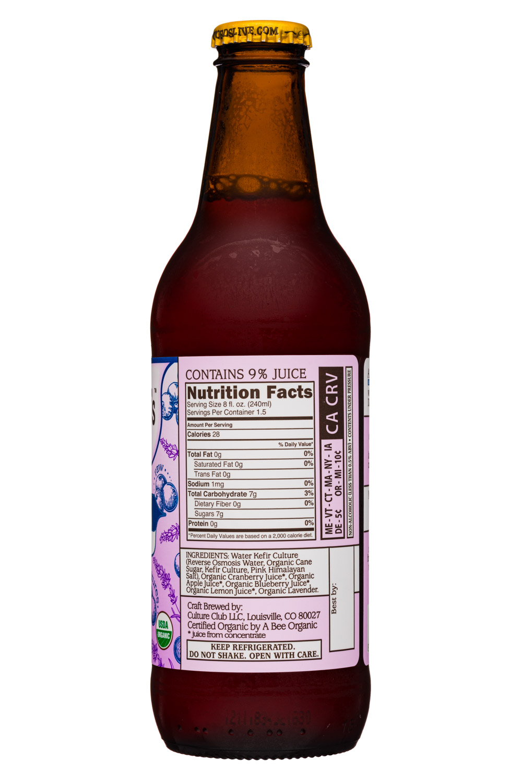 Doctor D's : DoctorDs-12oz-SparklingProbiotic19-BerryLavender-Facts