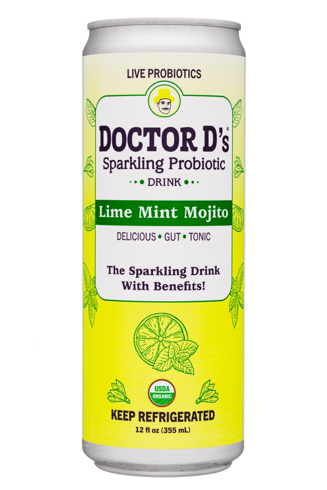 Doctor D's : DoctorDs-12oz-2020-SparklingProbiotic-LimeMintMojito-Front