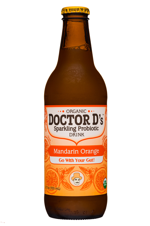 Doctor D's : DoctorDs-12oz-SparklingProbiotic19-MandarinOrange-Front