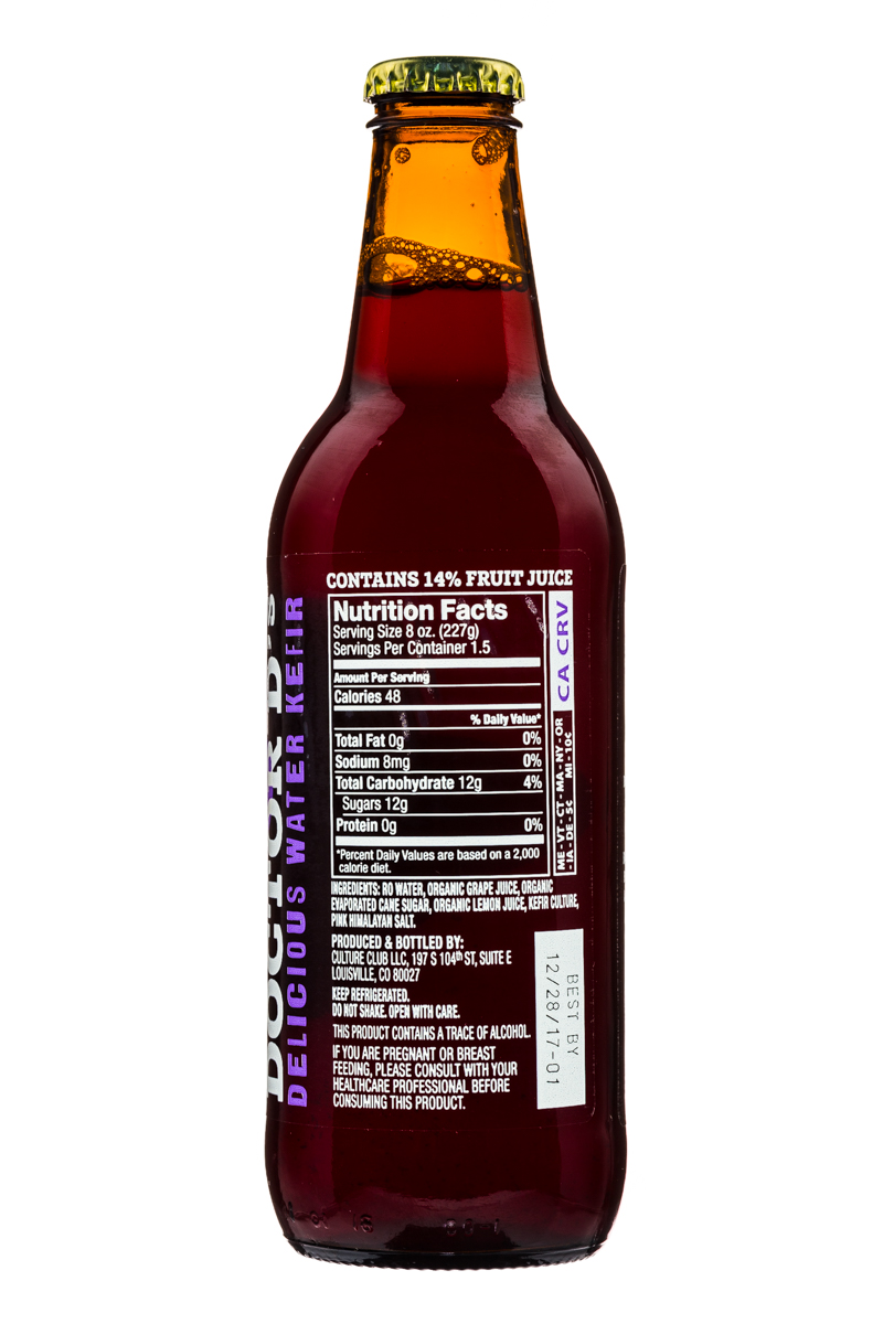 Doctor's D's : DoctorDs-SparklingProbiotic-WaterKefir-12oz-ConcordGrape-Facts