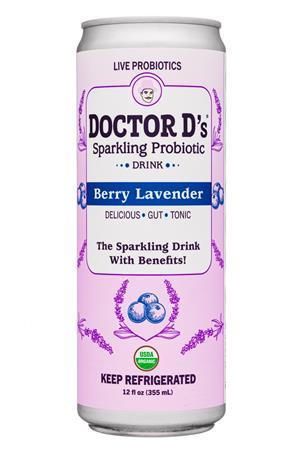Doctor D's : DoctorDs-12oz-2020-SparklingProbiotic-BerryLavender-Front