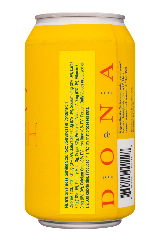 Dona Spiced Sodas: Dona-12oz-SpiceSoda-TurmericHoney-Facts