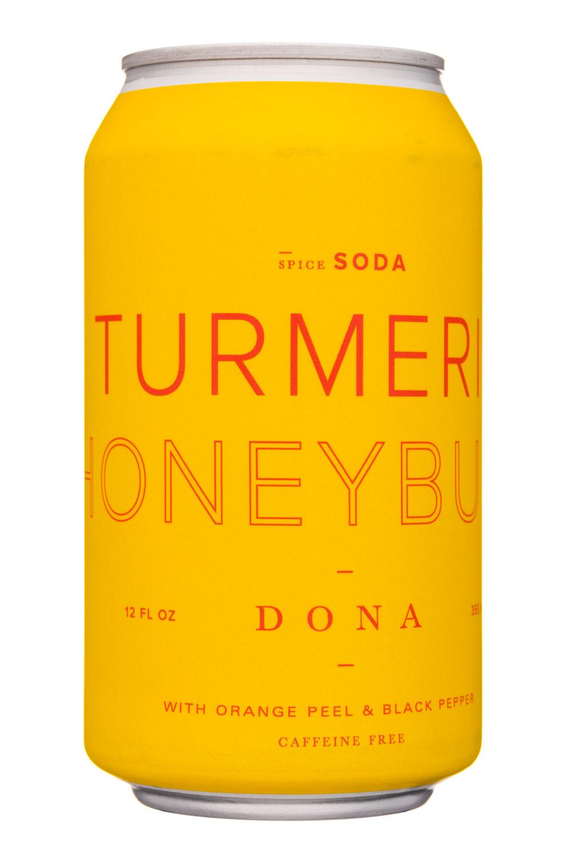 Dona Spiced Sodas: Dona-12oz-SpiceSoda-TurmericHoney-Front