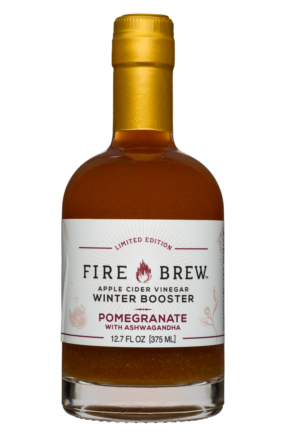 Drink Fire Brew: FireBrew-13oz-ACV-WinterBooster-Pomegranate-Front