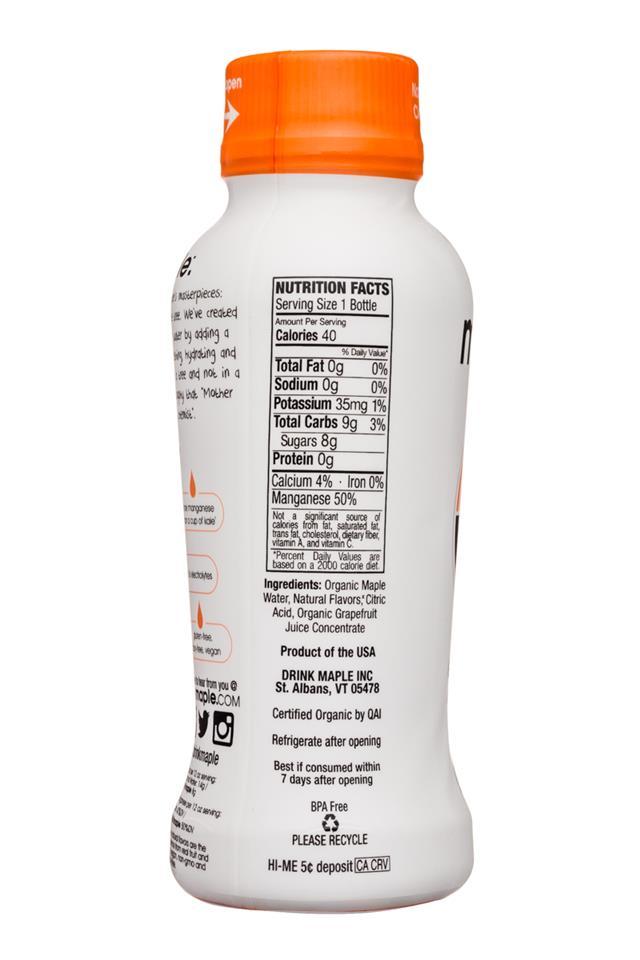 Drink Maple: DrinkMaple-12oz-Maple-Grapefruit-Facts