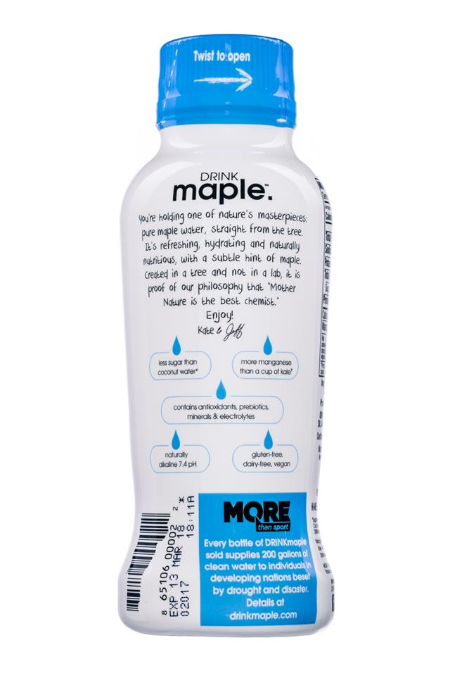 Drink Maple: DrinkMaple-MapleWater-12oz-Facts