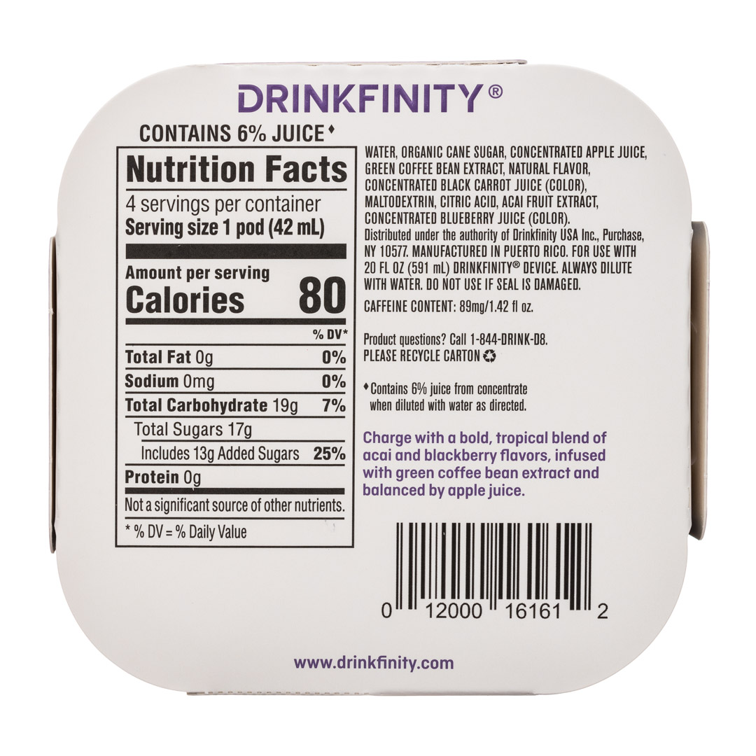 Drinkfinity: Drinkfinity-4pods-Acai-Charge-Facts