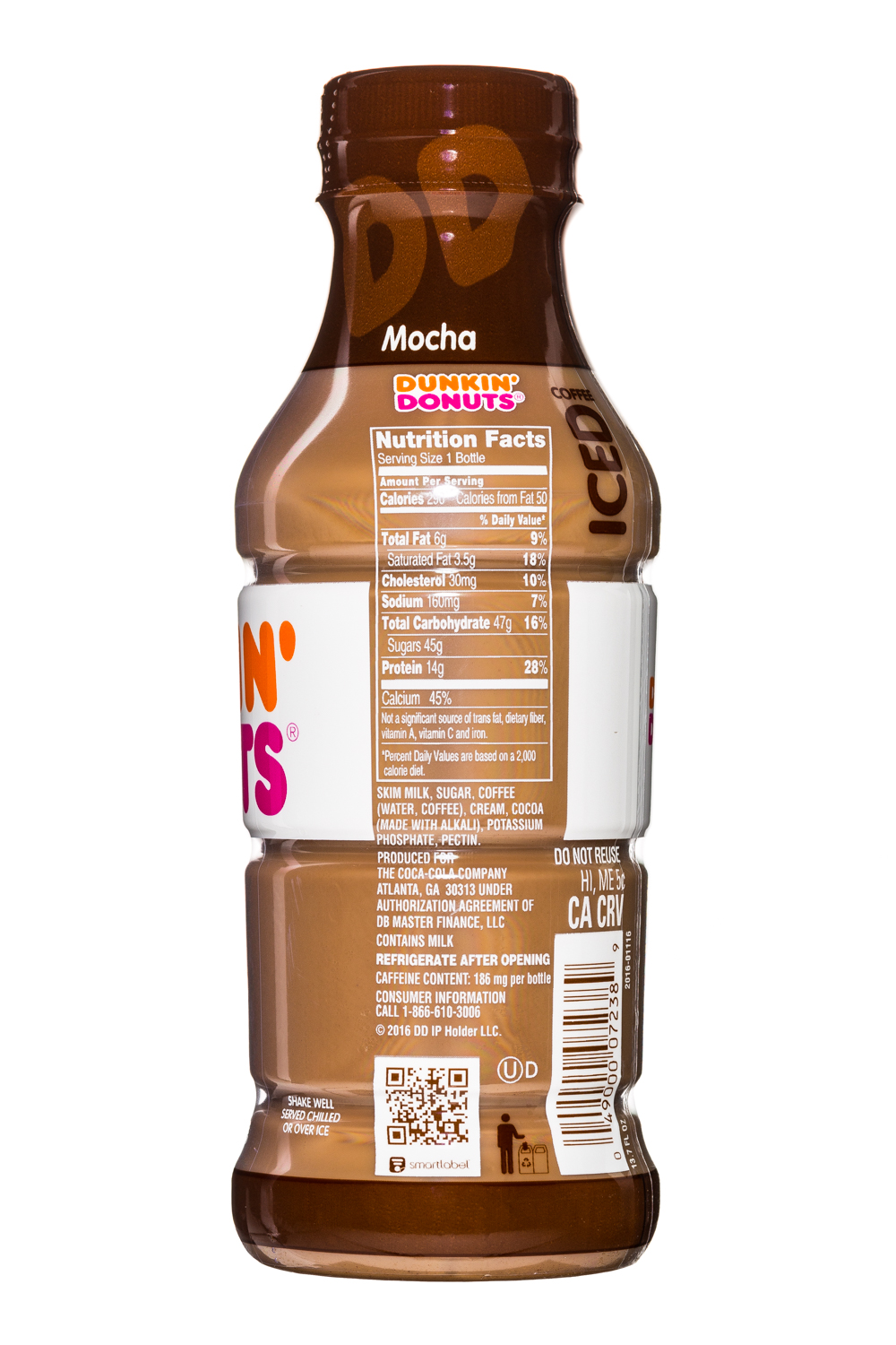 Dunkin Donuts Iced Coffee: DunkinDonuts-13oz-IcedCoffee-Mocha-Facts