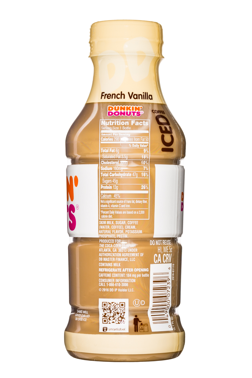 Dunkin Donuts Iced Coffee: DunkinDonuts-13oz-IcedCoffee-Vanilla-Facts