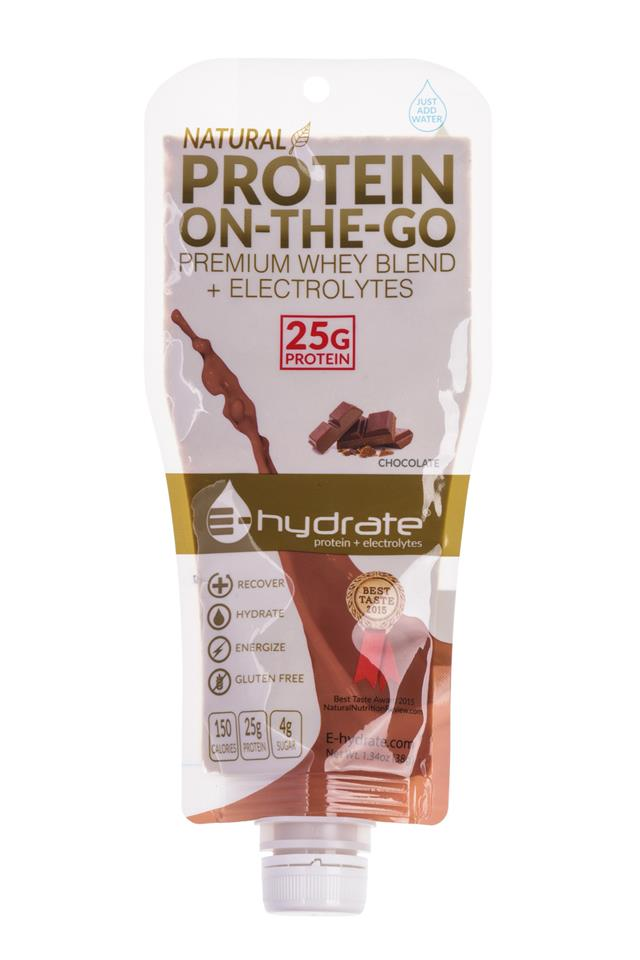 E-hydrate: E-Hydrate-ProteinOnTheGo-Chocolate-Front