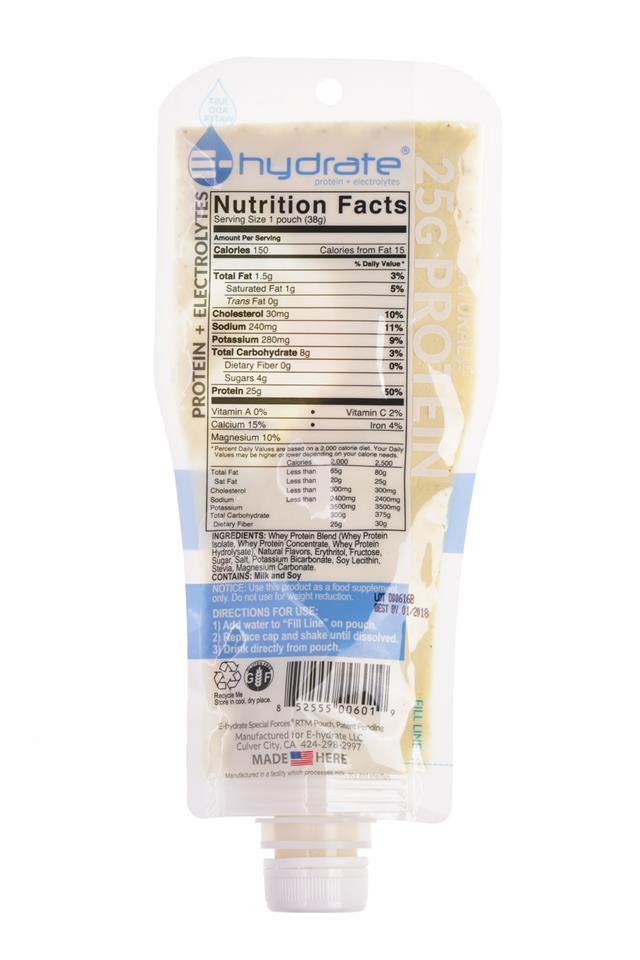 E-hydrate: E-Hydrate-ProteinOnTheGo-Vanilla-Facts