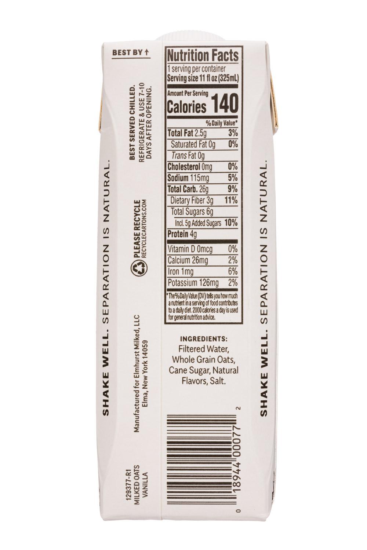 Elmhurst: Elmhurst-11oz-2020-MilkedOats-Vanilla-Facts