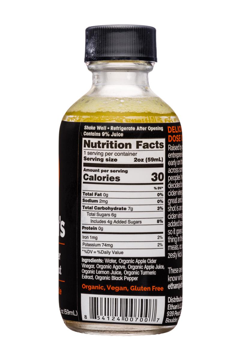 Ethan's Apple Cider Vinegar Shots: Ethans-ACV-Shot-2oz-TurmericApple-Facts