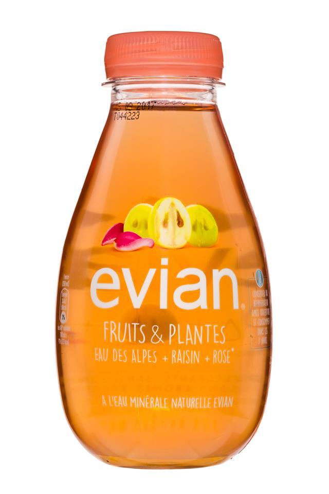 Evian: Evian-FruitsPlants-EauRaisinRose-Front