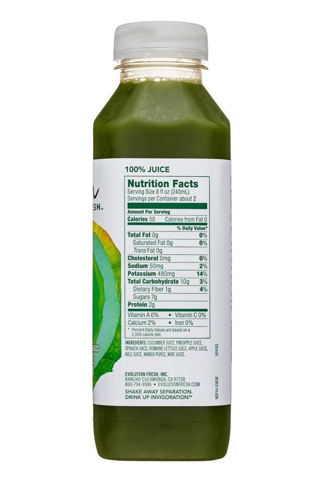 Evolution Fresh: EvolutionFresh-15oz-ColdPressed-SmoothGreensKale-Facts