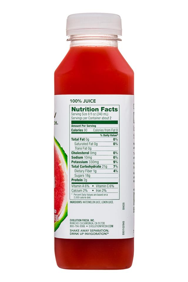 Evolution Fresh: EvolutionFresh-15oz-ColdPressed-Watermelon-Facts