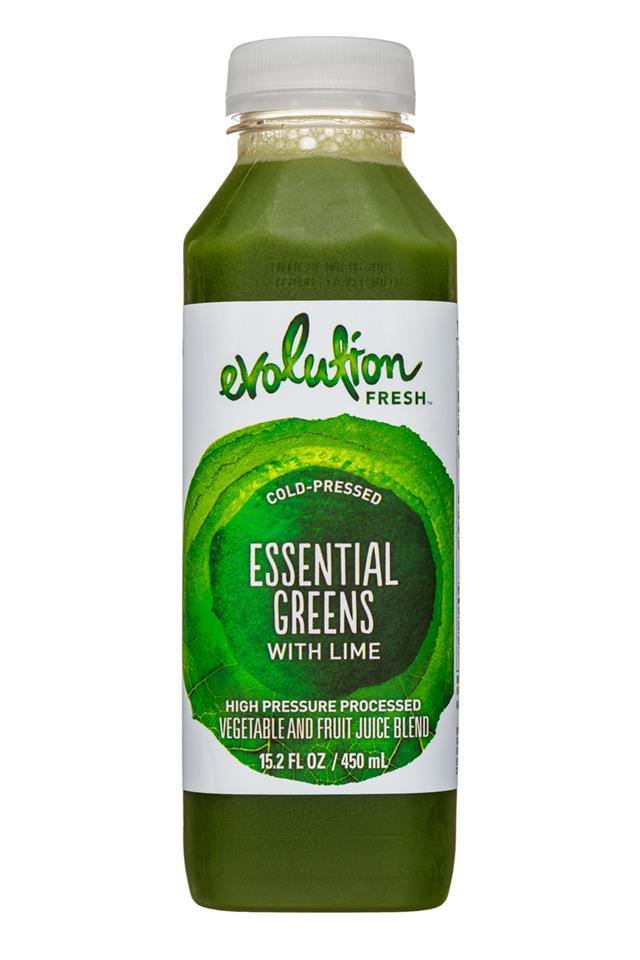 Evolution Fresh: EvolutionFresh-15oz-ColdPressed-EssentialGreensLime-Front