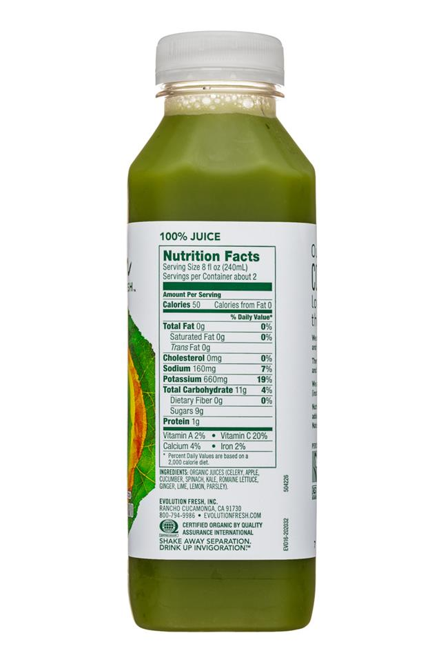 Evolution Fresh: EvolutionFresh-15oz-ColdPressed-SweetGreensGinger-Facts