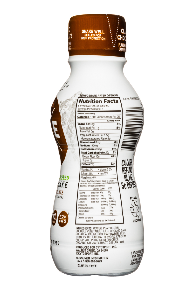 Evolve: Evolve-ProteinShake-12oz-ClassicChoc-Facts