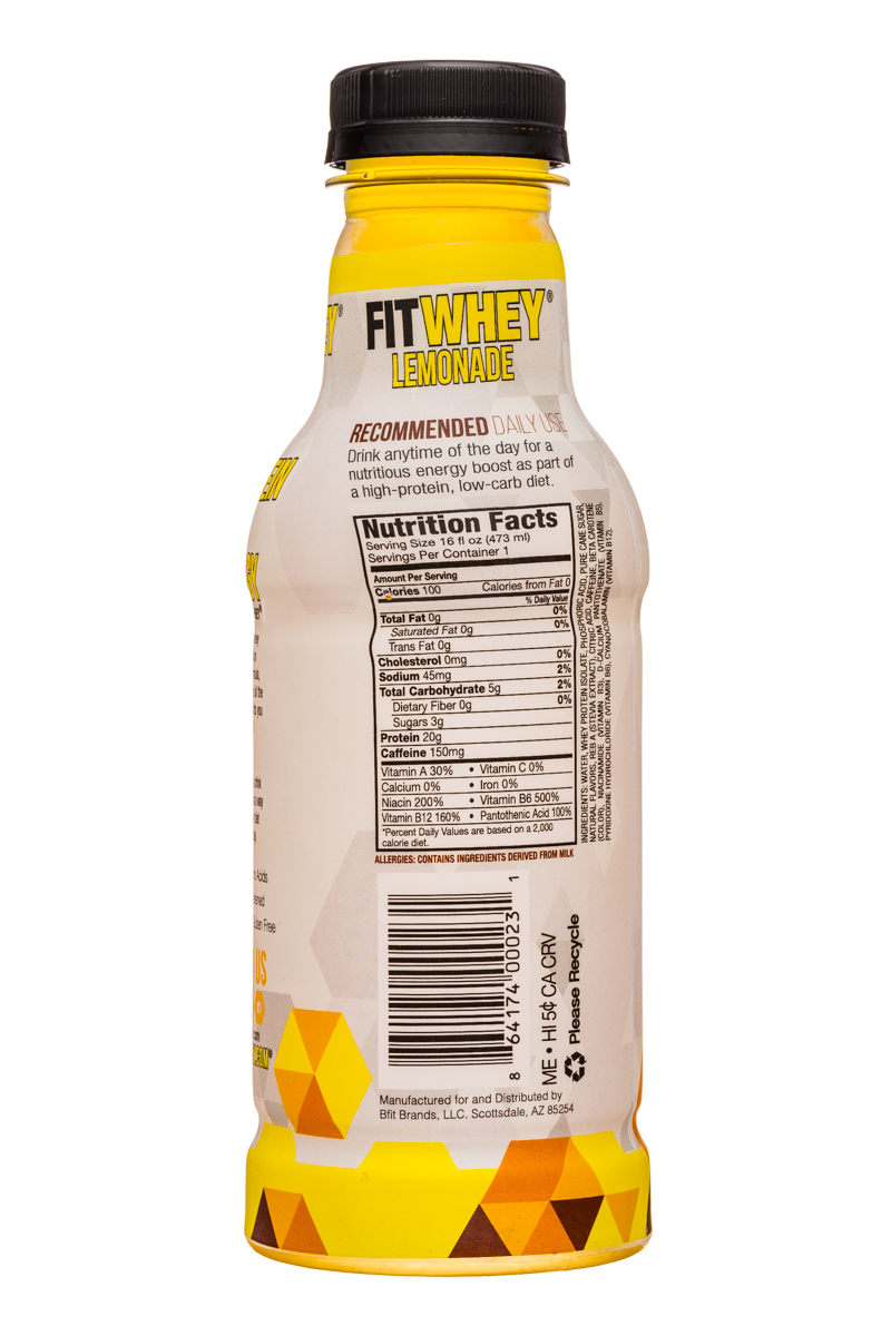 Fitwhey: FitWhey-16oz-Lemonade-Facts