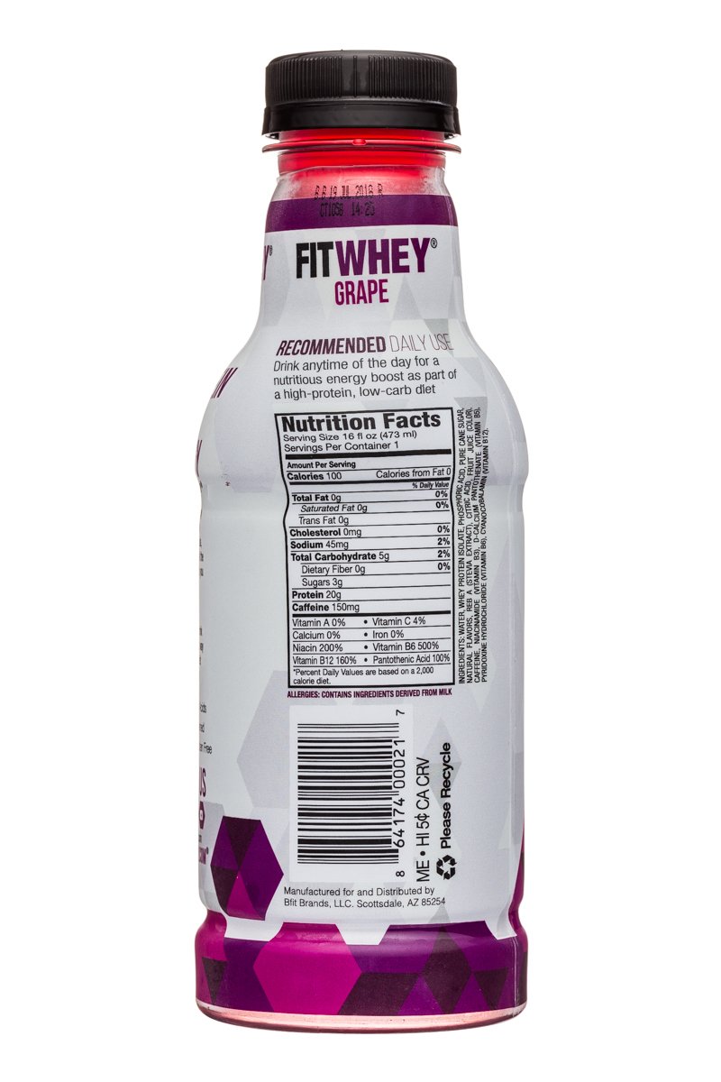 Fitwhey: FitWhey-16oz-Grape-Facts