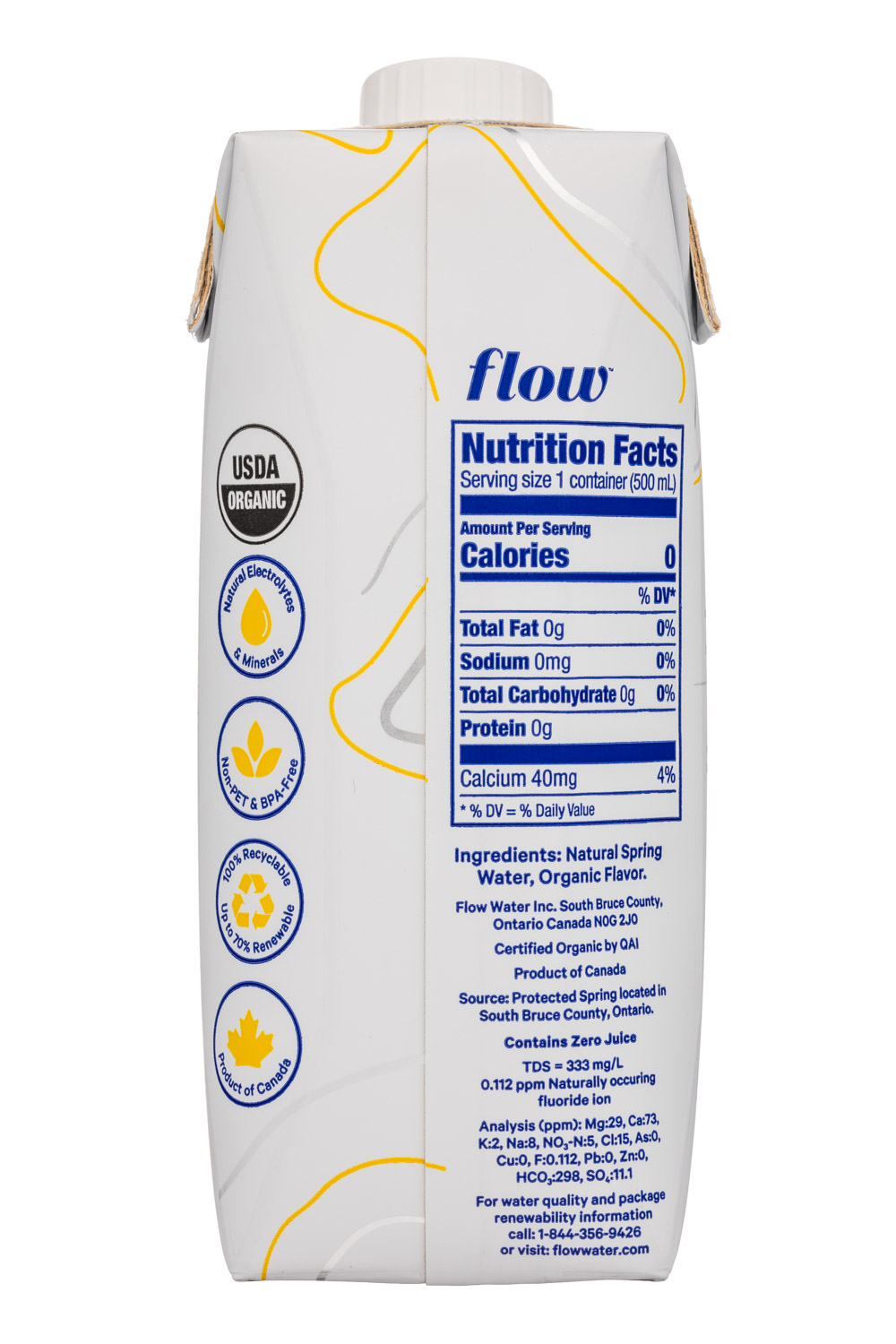 Flow Water: Flow-17oz-AlkWater-LemonGinger-Facts