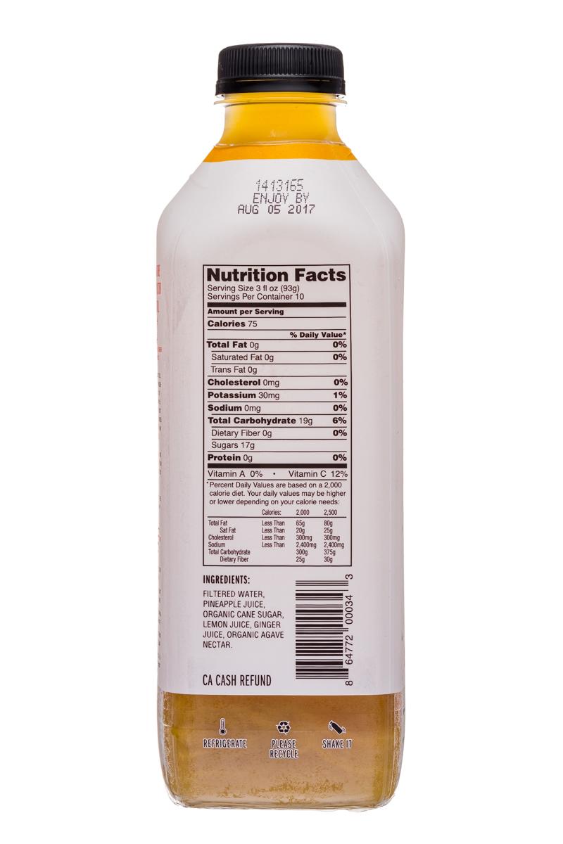 Fresh Victor: FreshVictor-32oz-CocktailBlend-PineappleGingerRoot-Facts