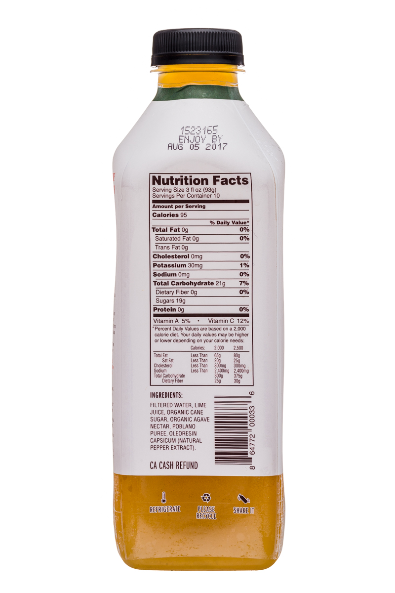 Fresh Victor: FreshVictor-32oz-CocktailBlend-PoblanoHeatWildLime-Facts