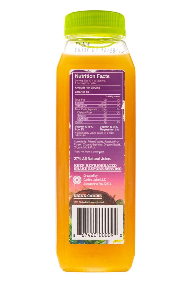 Caribe: Carabe-ColdPress-10oz-PassionFruit-Facts