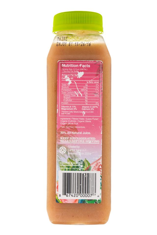 Caribe: Carabe-ColdPress-10oz-Guava-Facts