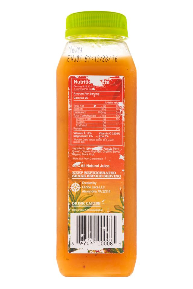 Caribe: Carabe-ColdPress-10oz-AcerolaBerry-Facts