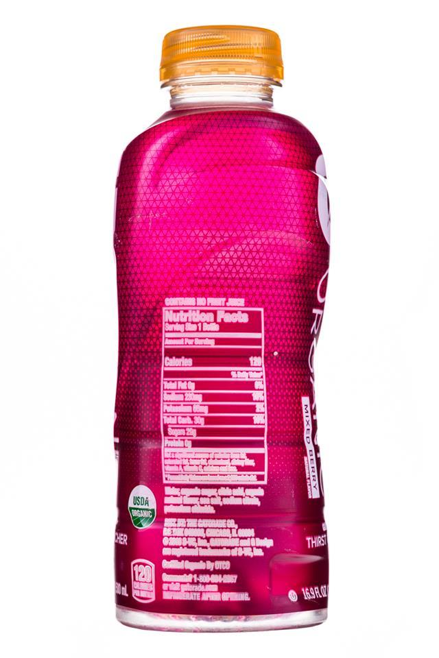 Gatorade Organic: Gatorade-Organic-17oz-MixedBerry-Facts