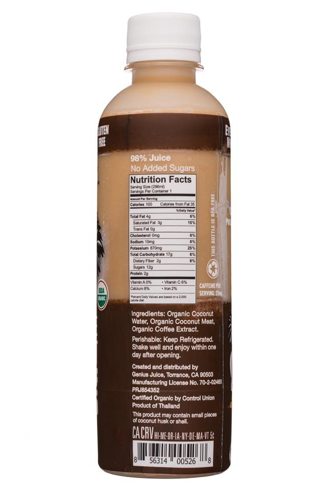 Genius Coconut Smoothies: Genius-10oz-WholeCoconutSmoothie-Coffee-Facts