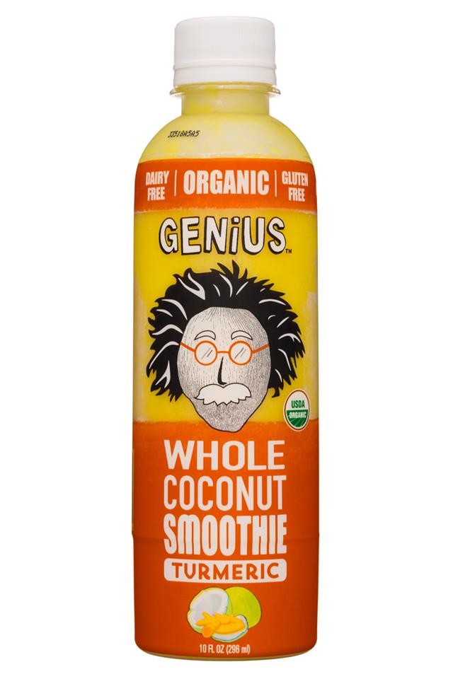 Genius Coconut Smoothies: Genius-10oz-WholeCoconutSmoothie-Turmeric-Front