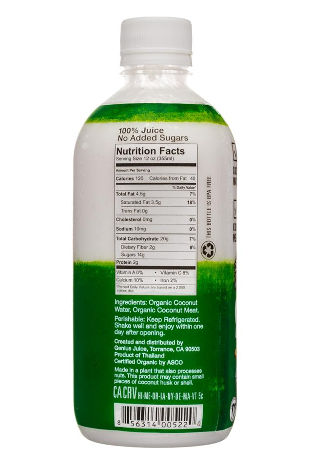 Genius Coconut Smoothies: Genius-12oz-Original-CoconutSmoothie-Facts