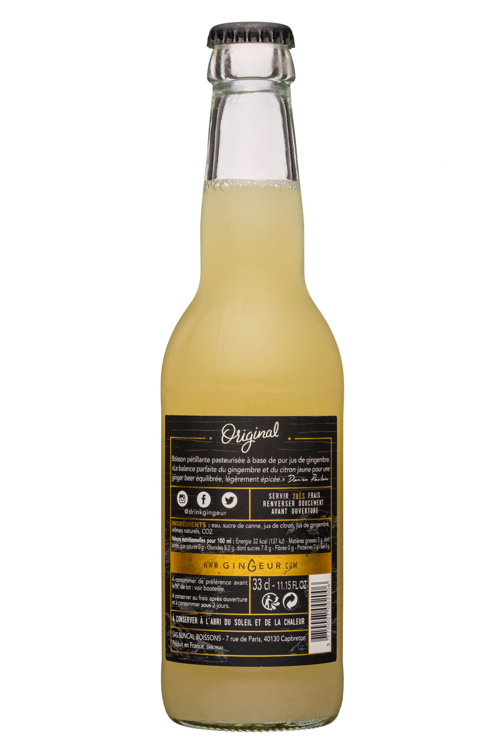 Gingeur: Gingeur-11oz-GingerBeer-Facts